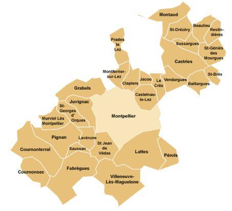 carte de Montpellier où se déplace notre serrurier