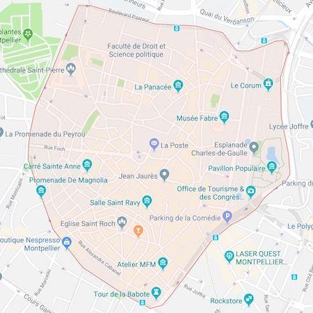 carte du centre-ville de Montpellier